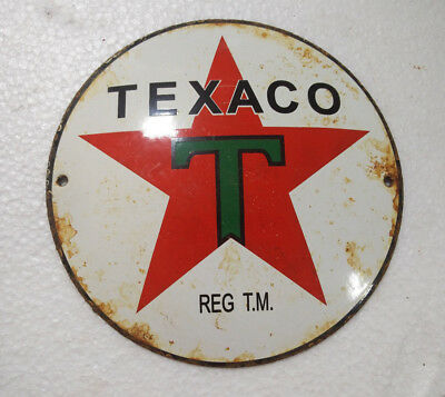 Porcelain Sign Texaco 6 Inches Dia Approx