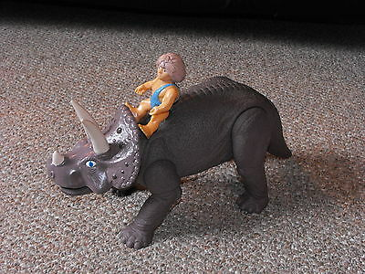 1987 Playskool Definitely Dinosaurs Triceratops with Grak Figure Lot