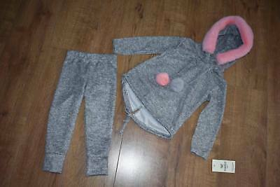Baby Girls Faux Fur Hooded Pom Pom Lounge Suit Tracksuit 2 piece set  4-14 Years