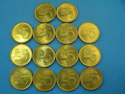 South Korea Lot of 14 Brass Coins, 5 Won 1971 Turtle Boat, UNC, 20 mm