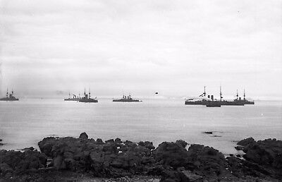 Photographic Glass Negative Royal Navy Assembled Fleet Firth Of Forth  Ww1