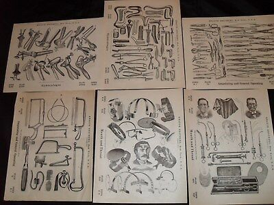 Antique Lot 12 Pages ( 2 Sides) Medical Instruments, Devices,book Plates, Knauth