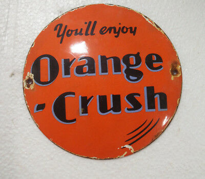 Porcelain Sign Orange Crush 6 Inches Dia Approx