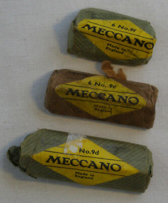 Meccano Parts 9d, 9e, 9f - in unopened original wrappers