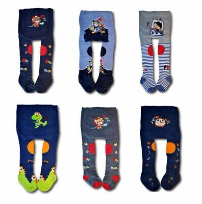 Baby Boys Crawling Cotton Tights ABS Sole Rubberised Non Slip Knees Terry Insole