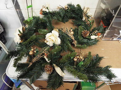 Christmas Xmas Cream Gold Shimmer Fir Tree Pine Cone & Roses Foliage Garland