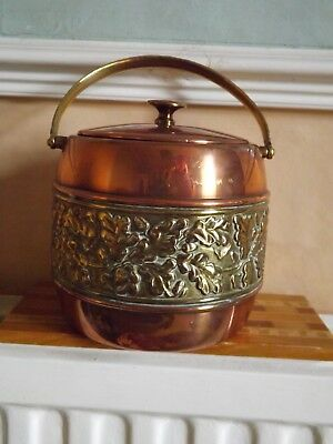Vintage Copper And Brass UNTON TEA CADDY/ BISCUIT BARREL. LOVELY CONDITION.