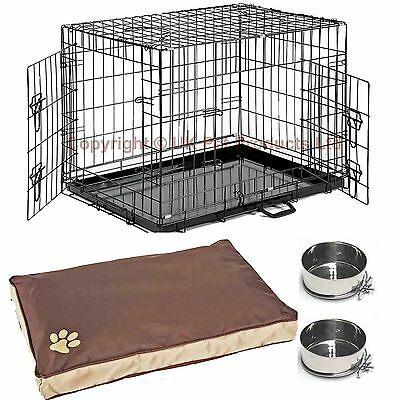 Dog Cage Crate With Waterproof Bed + Cage Bowls Puppy Small Medium Large XL XXL