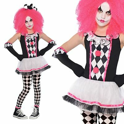 Kids Girls Circus Sweetie Clown Childrens Fancy Dress Halloween Carnival Costume