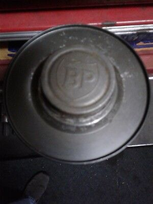 BP Motor Oil Quart Tin can embossed BP Cap