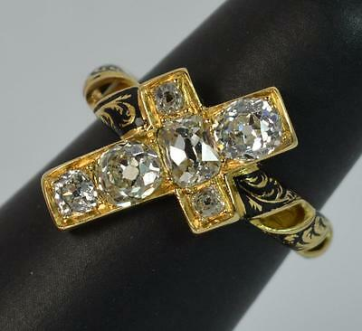 Very Rare Old Cut Diamond 18ct Gold & Enamel Cross Mourning Ring d0909