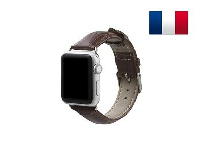 Bracelet en cuir synthétique type Croco pour Apple Watch 38mm - Marron