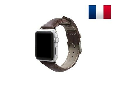 Bracelet en cuir synthétique type Croco pour Apple Watch 42mm - Marron