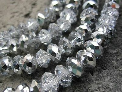 RONDELLE FACETED GLASS CRYSTAL BEADS 6mm silver plated jewellery making