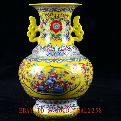 Old Chinese Qorcelain Hand-painted Luxury Flower Vase With QIanlong Mark