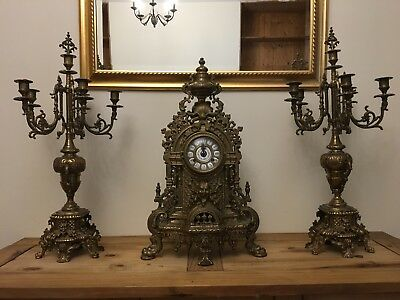 Antique Brass Candelabra and Clock