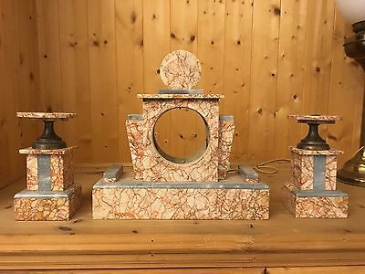 Marble Candle holder and Clock set