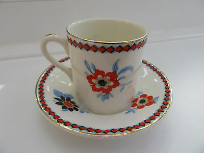 Crown Ducal Cabinet Cup and Saucer,1930's,Rust/White/Blue Design