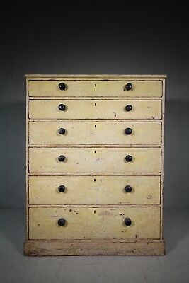 Large Georgian Antique Painted Pine Chest of Drawers.