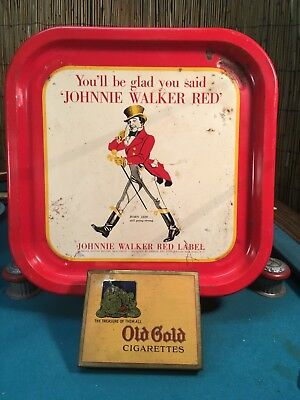 Vintage Johnnie Walker Red  Bar Advertising Tray and Old Gold Cigarette Tin
