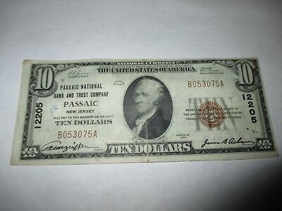 $10 1929 Passaic New Jersey NJ National Currency Bank Note Bill! #12205 VF