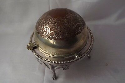 silver plated butter dish dome