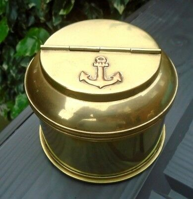 Solid Brass SHELL BASE 1956 & Round ASHTRAY LIDDED TOP Anchor Navy Trench Art