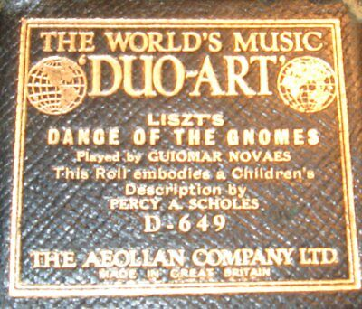Audiographic Duo-Art Piano Roll D-649 Liszt's Dance Of The Gnomes Great Britain