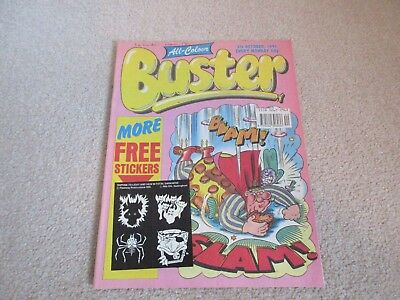 BUSTER COMIC  + free gift stickers- Oct 5th 1991-,  very Good condition
