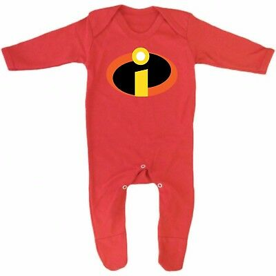 Red Incredibles super hero logo costume Baby Grow Romper Sleep Suit Vest