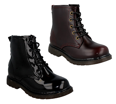 Girls Spot On H5067 Childrens Black Patent/ Burgundy Pu Lace Up Zip Boots Shoes