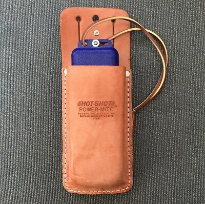 Hot-Shot Power Mite - Compact Livestock Prodder - Wiith Leather Holder