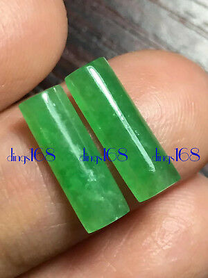 1 Pair 100% Natural A Jadeite pencil egg noodles Pendant Ring Earrings JD469