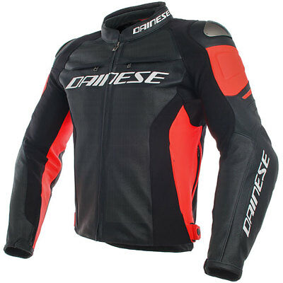 Dainese Motorbike Perforated Racing 3 Leather Jacket - Black / Black / Red