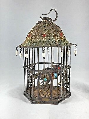 Chinese Export Enamel & Sterling Bird in Cage - 5""