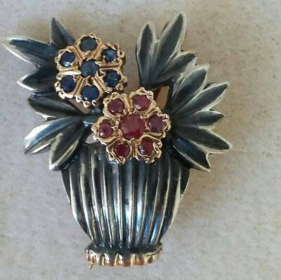 Antique Mogul Style Georgian Silver-Topped Gold Floral Sapphire Ruby Brooch Pin