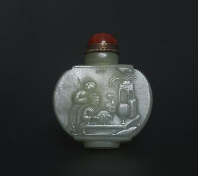 Good Antique Chinese Both Carved Natural Nephrite He Tian Jade Snuff-bottle t7