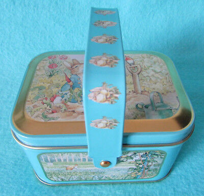 Fab Pretty Little Beatrix Potter Peter Rabbit Tin Trinket Pot With Carry Handle