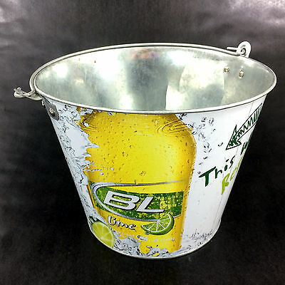 Bud Light Lime Beer Bucket Budweiser Collectible All Metal Holds 8 Bottles & Ice