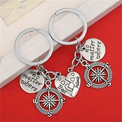 2pcs Best friend good friend compass series pendant alphabet Keychain Gift