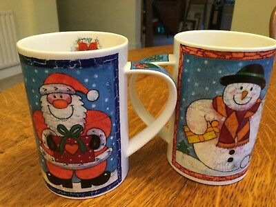 2 Dunoon mugs Christmas crackle  bone china made in England Jane brookshaw