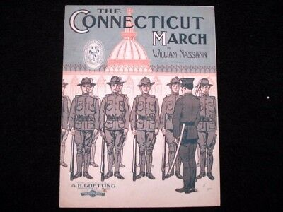 The Connecticut March 1911 Vintage Sheet Music William Nassann Military Music