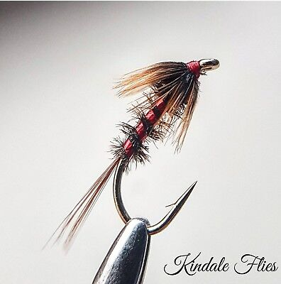 Red Holo Cruncher size 10 (Set of 3) Fly Fishing Flies Trout buzzers Peacock Her