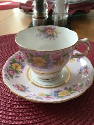 Colclough Bone China Tea Cup & Saucer - Pink & Yellow Flowers on Pink Background