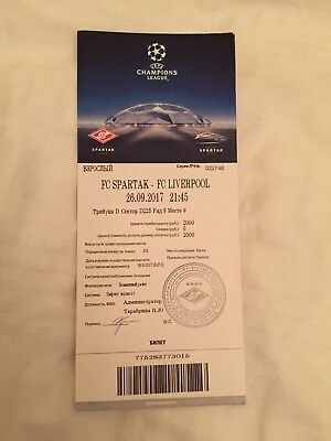 Spartak Moscow v Liverpool 26/09/2017 Match Ticket
