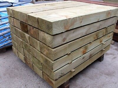 1.2m GREEN 200x100mm Railway Garden Landscaping Sleepers - Only £7.95