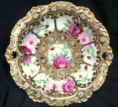 """OUTSTANDING NIPPON HAND PAINTED BOWL GOLD MORIAGE w/ PINK ROSES & GOLD 10"""" DISH"""