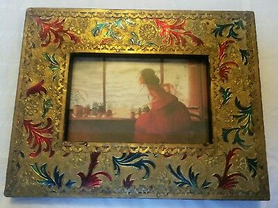Photo  Picture Frame Brass Gold Enamel Metal and wood
