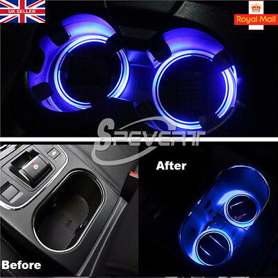 2x Car Solar Power Cup Holder Bottom Pad LED Light Cover Trim Atmosphere Lamp