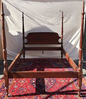 Rare Solid Walnut Four Poster Tester Bed